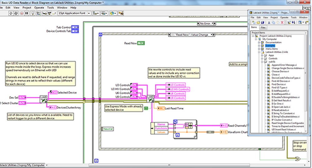Interface Innovations Example Block Diagram with LabJack USB, Ethernet, WiFi DAQ Devices
