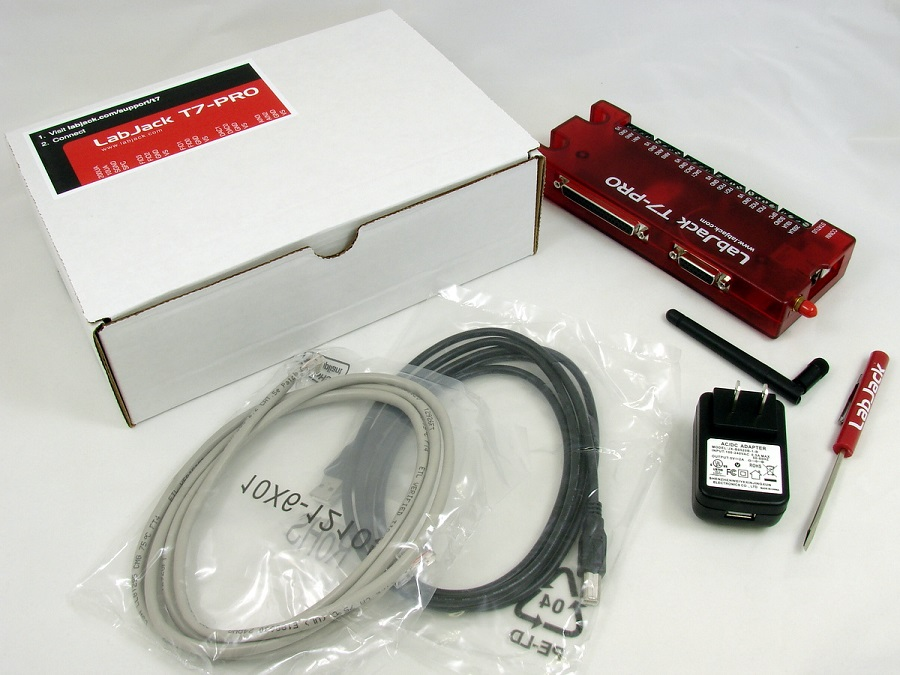 LabJack T7-Pro T7 Low Cost USB 802.11b/g Wifi Ethernet DAQ Package Contents