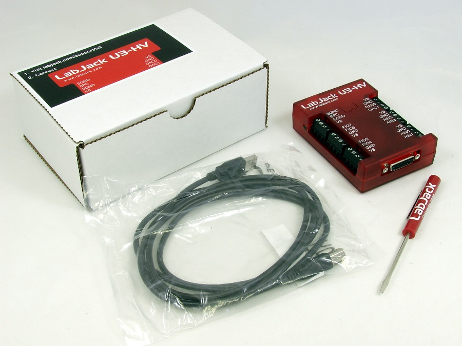 LabJack U3-HV U3-LV Low Cost USB DAQ Device Package Contents