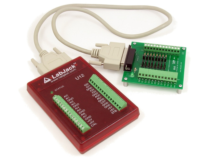 LabJack U12 Low Cost USB DAQ Device with CB25 Terminal Board