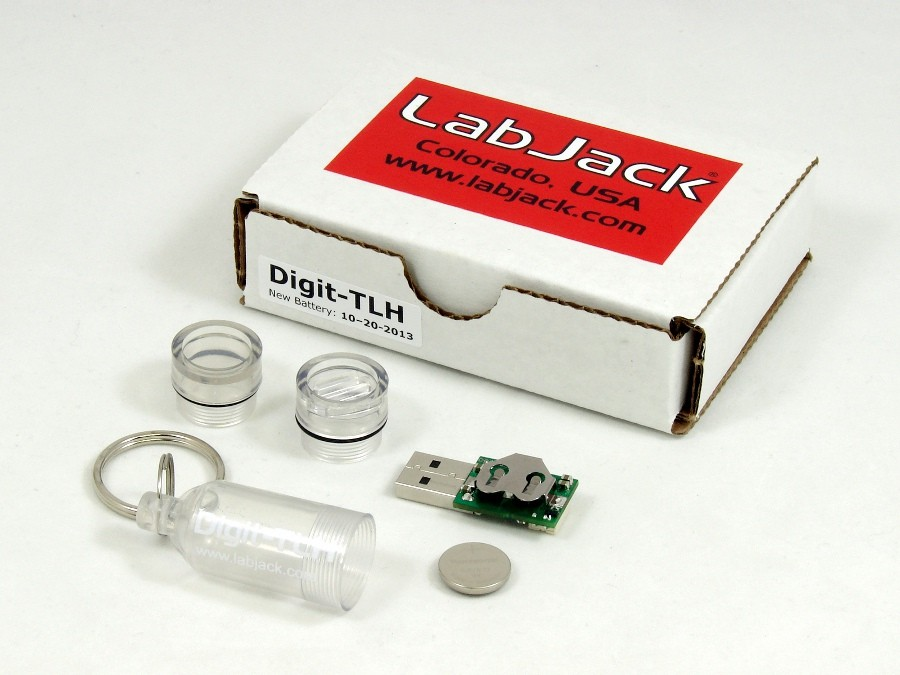 LabJack Digit-TLH Low Cost Battery Powered USB Temperature, Light, and Humidity Data Logger Packaging
