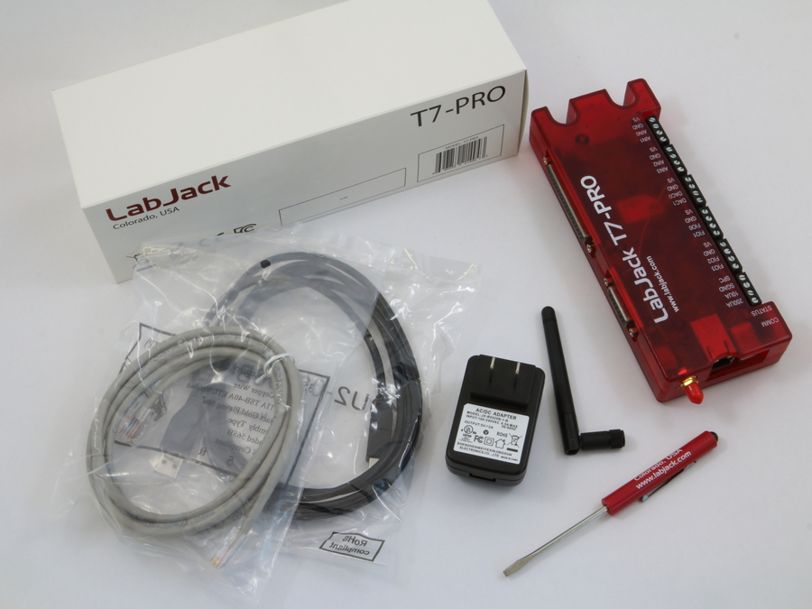 LabJack T7-Pro Low Cost USB, 802.11b/g Wifi, and Ethernet data acquisition (DAQ) Package Content