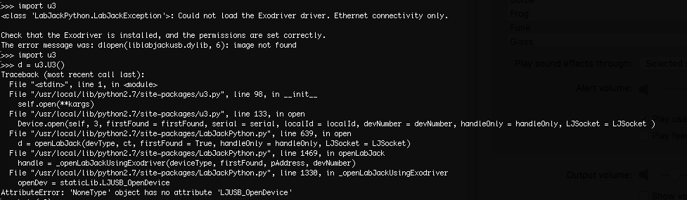Could not load the Exodriver driver error | LabJack