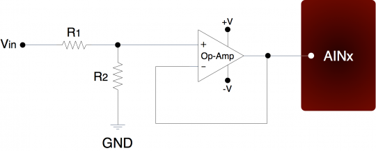 Using a LabJack Multifunction Data Acquisition and Control Device (DAQ) to measure the resistance of a sensor via a Buffered Voltage Divider circuit