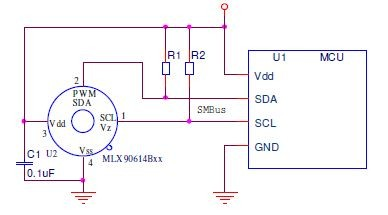 Melexis MLX90614 IR Temperature Sensor - I2C, Connection Schematic
