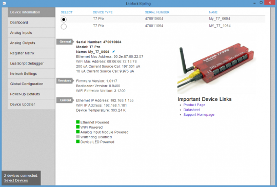 LabJack cross platform USB, Ethernet, WiFi 802.11b/g DAQ Device Control Program Device Information Screen