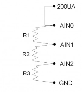 Series resistor diagram with constant current input, three resistors