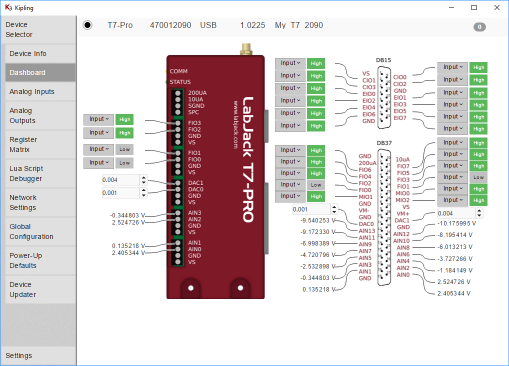 Cross Platform, USB, Ethernet, WiFi DAQ Device Dashboard View