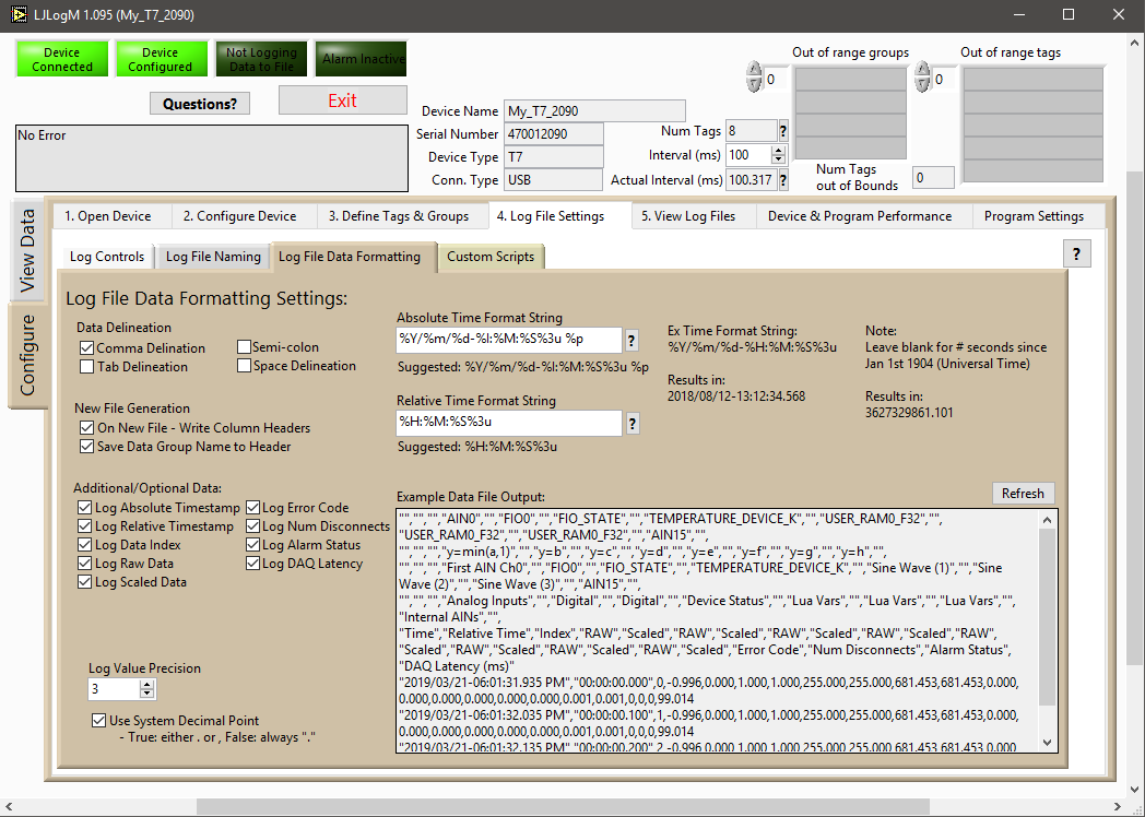 Log File Settings & Preview