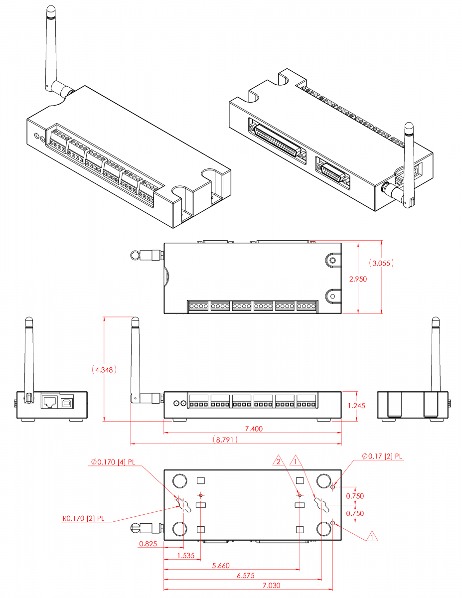 B-2 T7 Drawings and CAD Models [T-Series Datasheet] | LabJack