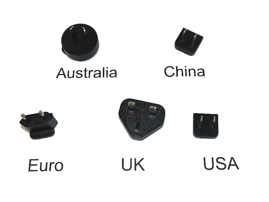 5V 1.2A Barrel Jack PSU Clips, Australia, China, Euro, UK, USA