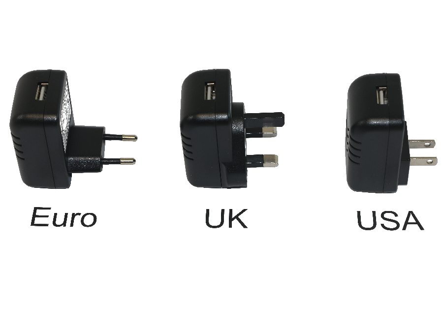 International 5V 2A USB PSU, Euro, UK, and USA