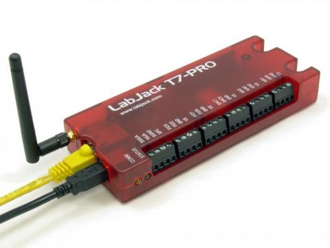 LabJack T7/T7-Pro Low Cost USB, 802.11b/g WiFi , and Ethernet Data Acquisition (DAQ) and Control Device.